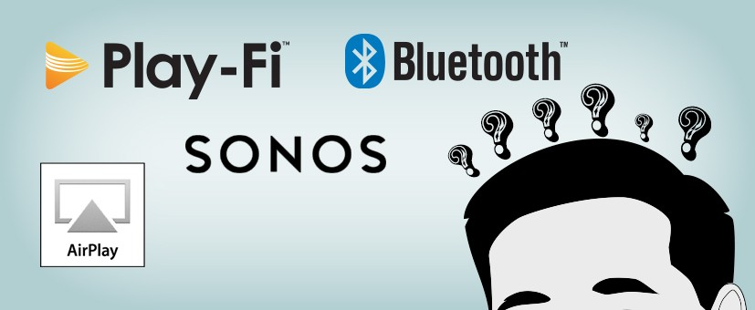 Illustration of a guy with questions about Bluetooth, Play-Fi, Sonos, and Airplay.